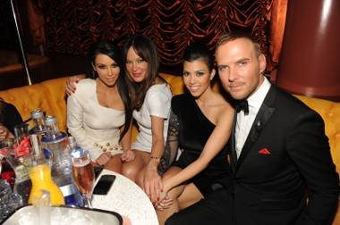 Kim Kardashian, Robin Antin, Kourtney Kardashian and Matt Goss at Vegas' seventh anniversary party at Surrender in Encore on June 19, 2010.