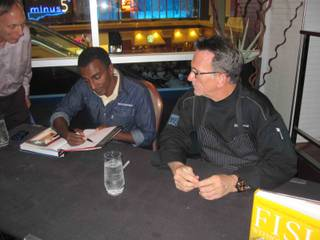 Rick Moonen hosts Marcus Samuelsson at RM Seafood in Mandalay Bay on June 23, 2010.