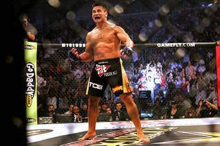 Cung Le celebrates his second round TKO of Scott Smith during their Strikeforce bout Saturday at the HP Pavillion in San Jose, Calif.