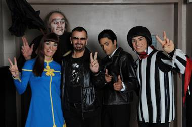 Ringo Starr and cast members of Love at The Mirage in Niagra Falls.