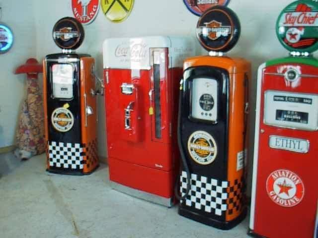 A set of gas pumps at Rick's Restorations.