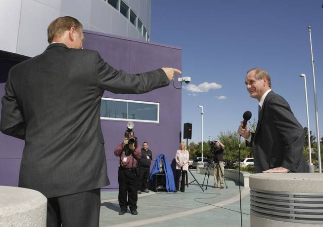 Tom Axtell, right, general manager of Vegas PBS, speaks during the official opening of the Educational Technology Campus on Flamingo Road on June 28.