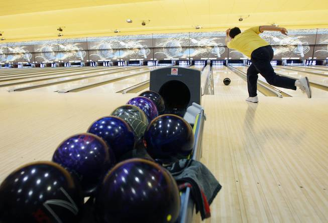 Brian Bock, 57,a member of the Summer Fun team, bowls at Sunset Station casino July 1, 2010.