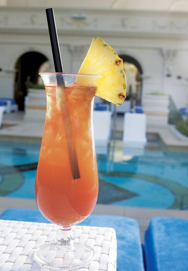 In the pantheon of summery drinks, there are pina coladas, daiquiris, mojitos and, of course, the one invented by the Trader Vic's franchise, the mai tai. We won't lie: The one found on the cocktail menu at the Caesars Palace pool packs a punch thanks to the combo of 10 Cane rum, Southern Comfort and Grand Marnier, but it's tempered ever so slightly by some pineapple juice, grenadine and fresh lime and sour. Cheers.
