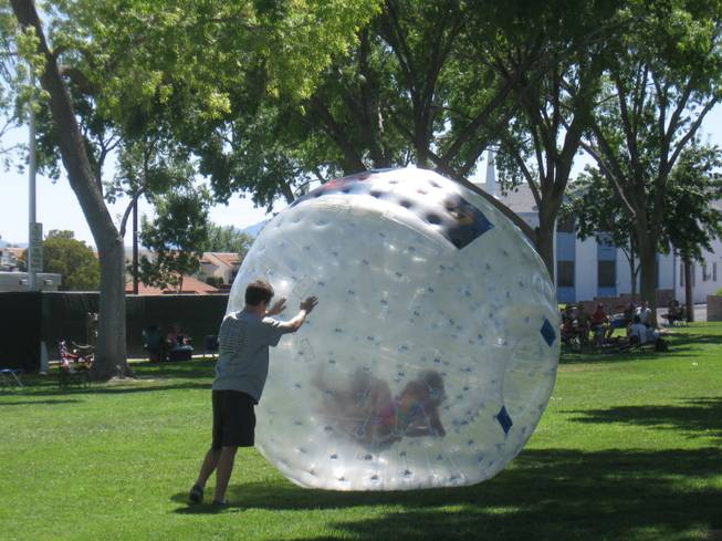 Children participate in games Saturday at Memorial Park during Boulder City's 62nd annual Damboree Celebration.