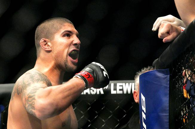Brendan Schaub celebrates his win over Chris Tuchscherer  during their bout at UFC 116 Saturday, July 3, 2010.