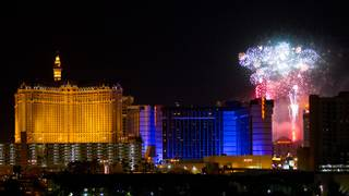 Fireworks on The Strip seen from the Hard Rock Hotel on July 4, 2010.