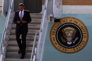 President Obama steps off Air Force One on Wednesday at McCarran International Airport for a two-day stay in Las Vegas.