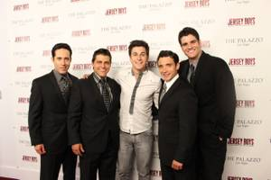 David Henrie, center, is flanked by Jeff Leibow, Deven May, Rick Faugno and Peter Saide of <em>Jersey Boys</em>.