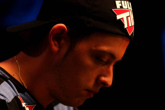 Filippo Candio plays in the World Series of Poker Main Event Saturday night at the Rio. It was the last day of the tournament until November when the final table is played in the Penn & Teller Theater.