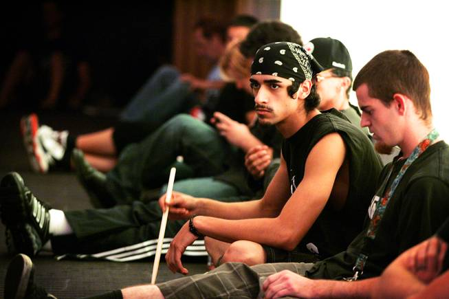 Lorenzo Haidl of Las Vegas waits during open auditions for the Blue Man Group inside the Venetian.
