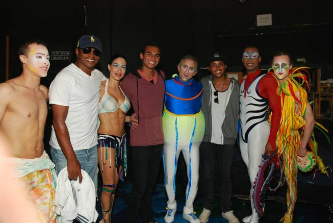 Jackie Jackson, second from left, Randy Jr. Jackson, fourth from left, and Donte Jackson, third from right, with cast members of Cirque du Soleil's <em>Mystere</em> at Treasure Island.