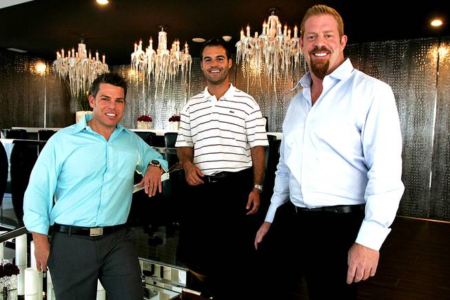 The Siegel Group owner Stephen Siegel (L), Director of Business Affairs Michael Crandall and Rumor Las Vegas General Manager Rob Cornelius are seen at Rumor Las Vegas on Harmon Avenue at Paradise Road.