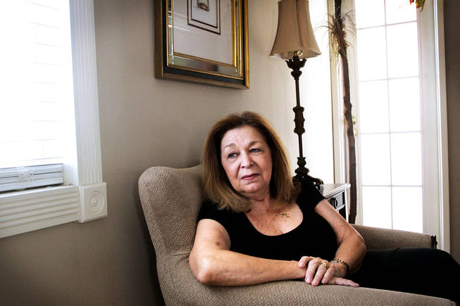 Mary Schwartz sits in the bedroom of her Las Vegas home July 22, 2010. Mickey O'Neill, her 61-year old boyfriend and companion of 18 years, died June 14, 2010 of massive gastrointestinal hemorrhage after laparoscopic gall bladder removal surgery on June 2, 2010. .