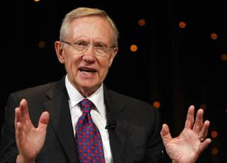 Sen. Harry Reid answers questions during the Netroots Nation convention Saturday at the Rio. Reid faces Republican and Tea Party favorite Sharron Angle this November in his bid to keep representing Nevada.