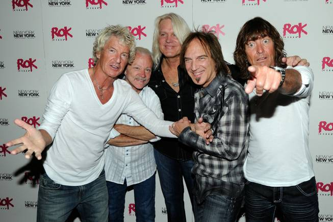 REO Speedwagon members Kevin Cronin, Neal Doughty, Bruce Hall, Dave Amato and Bryan Hitt at Rok Vegas in the New York-New York on July 24, 2010.