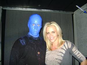 Jenny McCarthy backstage with the Blue Man Group at The Venetian on July 30, 2010.