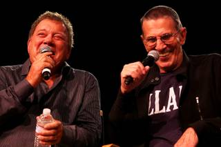 William Shatner and Leonard Nimoy address a crowd of thousands Saturday, Aug. 7, 2010, during the annual Star Trek Convention at the Las Vegas Hilton.