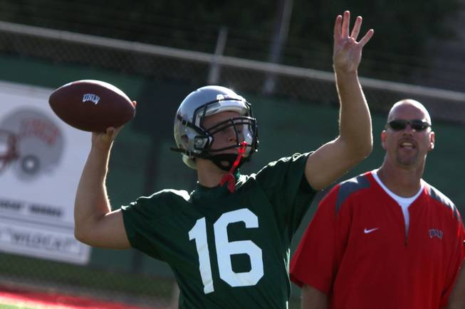 Quarterback Taylor Barnhill runs drills during the first practice of ...