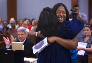 Kimberly Landrum gets a hug from Las Vegas Municipal Court Judge Cynthia Leung as she graduates from WIN (Women in Need), a city of Las Vegas specialty court, in 2010.