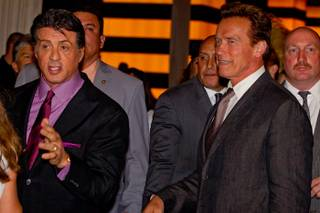 Sylvester Stallone and California Gov. Arnold Schwarzenegger at the premiere of The Expendables at Planet Hollywood on Aug. 11, 2010.