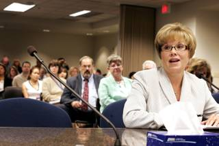 State Senator Shirley Breeden testifies before the State Board of Health concerning proposed regulation amendments related to the passage of Senate Bill 319 at the Grant Sawyer building in Las Vegas Friday, August 13, 2010.