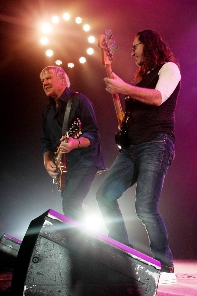 Alex Lifeson and Geddy Lee of Rush, shown at the MGM Grand Garden Arena.