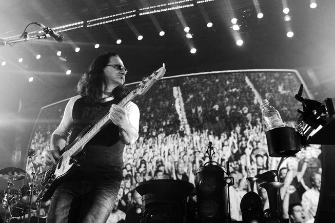 Geddy Lee of Rush, shown at the MGM Grand Garden Arena.