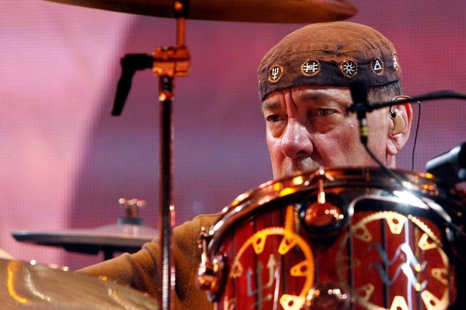 Neil Peart of Rush, shown at the MGM Grand Garden Arena.