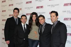 Hope Dworaczyk is flanked by Peter Saide, Travis Cloer, Deven May and Jeff Leibow of <em>Jersey Boys</em> at the Palazzo.