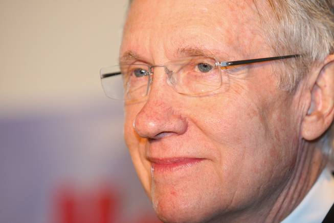 U.S. Sen. Harry Reid (D-Nev.) attends the groundbreaking ceremony of the new USO lounge in Terminal 1 at McCarran International Airport on Wednesday, August 18, 2010.