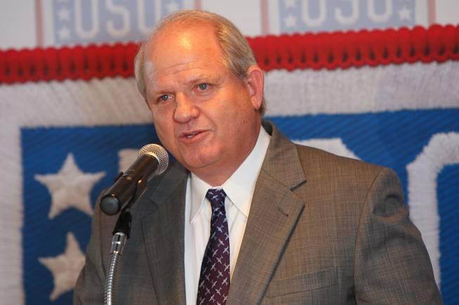 Randall H. Walker, director of the Department of Aviation, thanks those involved in the USO lounge project while speaking during the groundbreaking ceremony in Terminal 1 at McCarran International Airport on Wednesday, August 18, 2010.