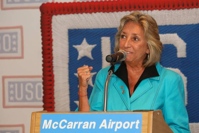 U.S. Rep. Dina Titus (D-Nev.) celebrates the new construction of the USO lounge while speaking during the groundbreaking ceremony in Terminal 1 at McCarran International Airport on Wednesday, August 18, 2010.