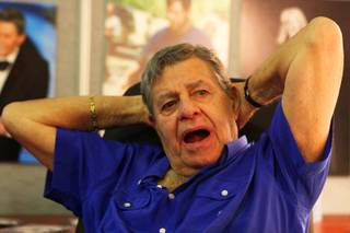 Jerry Lewis sits at his desk at the South Point Hotel Casino Spa in Las Vegas Tuesday, August 24, 2010.  Lewis and the Muscular Dystrophy Association are preparing for the annual Jerry Lewis MDA Labor Day Telethon held over Labor Day weekend.