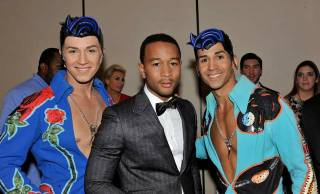 John Legend and Cirque du Soleil's Viva Elvis performers at the 2010 Miss Universe Pageant at Mandalay Bay Events Center on Aug. 23, 2010.
