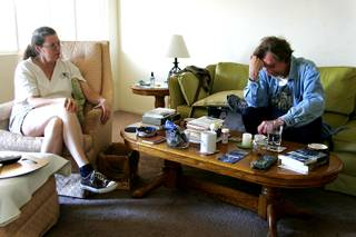 Rodger Jacobs reacts to bad news from girlfriend Lela Michael after waking up Tuesday, August 24, 2010.