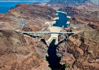 A bird's-eye view of Hoover Dam and the Hoover Dam Bypass.