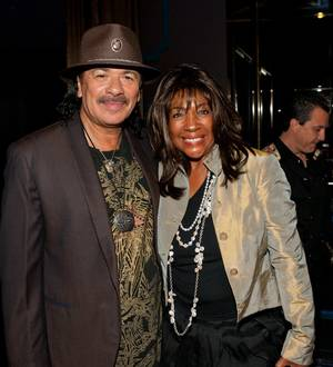 Carlos Santana and Mary Wilson at a listening party for Carlos Santana's new album <em>Guitar Heaven The Greatest Guitar Classics of All Time</em> at Vanity in the Hard Rock Hotel on Aug. 25, 2010.