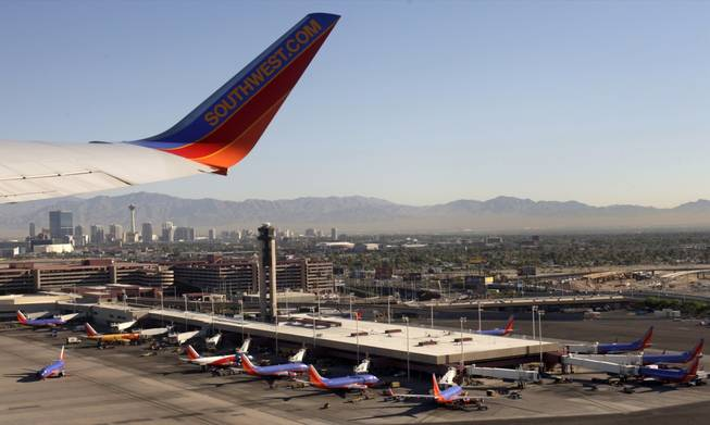 A Southwest Airlines jet takes off from McCarran International Airport.