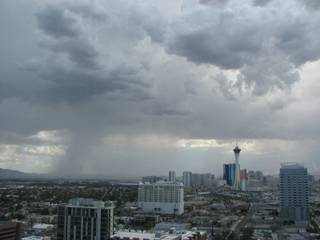 Storms were moving from the south into the Las Vegas Valley. This view looks toward the south-southeast from the 16th floor of the Clark County Regional Justice Center in downtown Las Vegas.