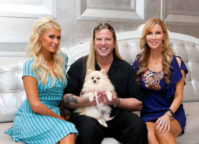 Paris Hilton, Michael Boychuck and Alicia Jacobs at his Color salon in Caesars Palace on Aug. 27, 2010.