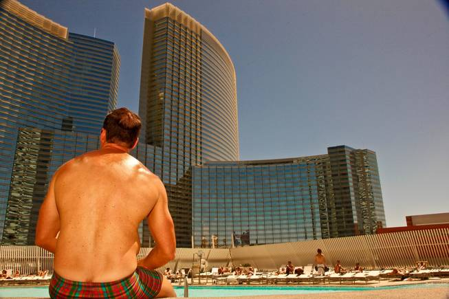 West Hollywood makes a splash in Las Vegas as The Abbey Beach debuts at Vdara Hotel and Spa.  Robert Reitman enjoys the City Center view from Vdara's Abbey Beach on Sunday, August 29.  Vdaras chic Pool & Lounge is decked out with The Abbeys colorful flags and beach balls, while its 19 fully appointed cabanas are serviced by the handsome Abbey Boys.  Widely known as one of the most popular West Hollywood hot spots, The Abbey Food & Bar has partnered with Las Vegas party planner Eduardo Cordova and Vdara Hotel & Spa to host The Abbey Beach.  The Abbey Beach at Vdara Pool & Lounge occurs every Sunday now through September 26, noon  6 p.m offering a taste of The Abbeys signature LGBT party in the heart of CityCenter.