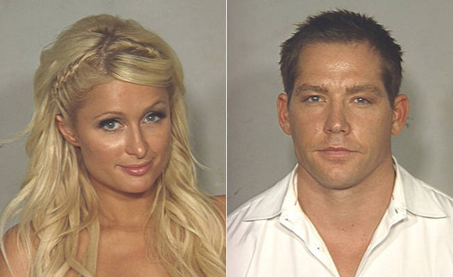 Mugshots of Paris Hilton and Cy Waits after their Las Vegas arrests.