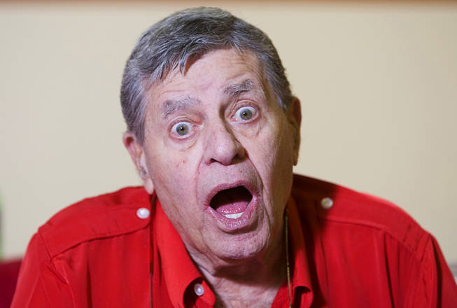 Entertainer Jerry Lewis, Muscular Dystrophy Association national chairman, makes a face to the camera during an interview at the South Point Tuesday, Aug. 31, 2010. The 2010 Jerry Lewis MDA Telethon starts Sunday at 6 p.m. and concludes on Labor Day at 3:30 p.m. MDA is the nonprofit health agency dedicated to curing muscular dystrophy, ALS  and related diseases by funding worldwide research.