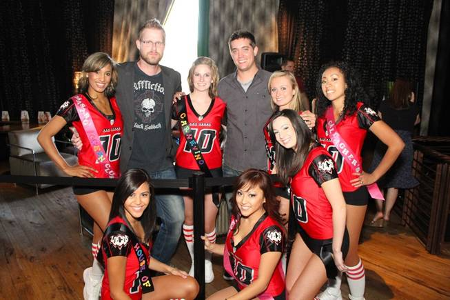 X1075's Dave & Mahoney with the Las Vegas Locomotives cheerleaders at the Second Annual Shuck and Swallow Competition at First Food & Bar inside the Palazzo on Aug. 31, 2010.