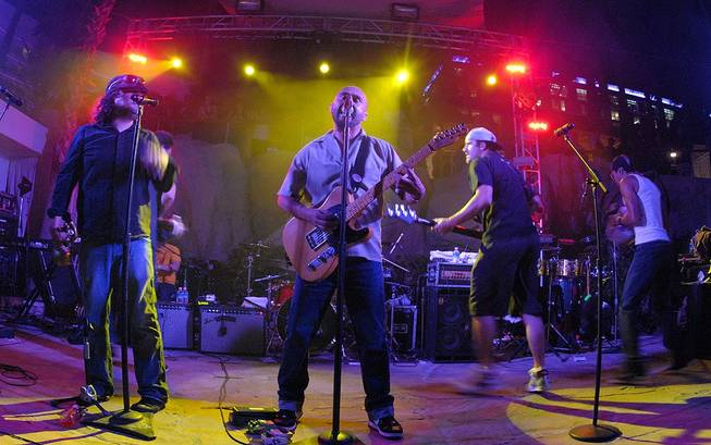 Ozomatli performs poolside at the Hard Rock Hotel on Sept. 3, 2010