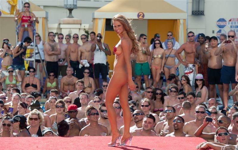 Spring break bikini contest winners, redheaded lesbian twins