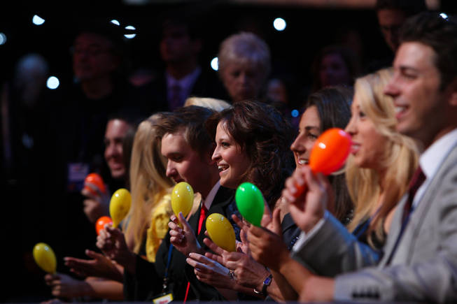 Jerry Lewis' daughter Danielle, 18, center, and family members shake maracas during Charo's performance on the 45th Annual Jerry Lewis MDA Labor Day Telethon on Sunday night at South Point.
