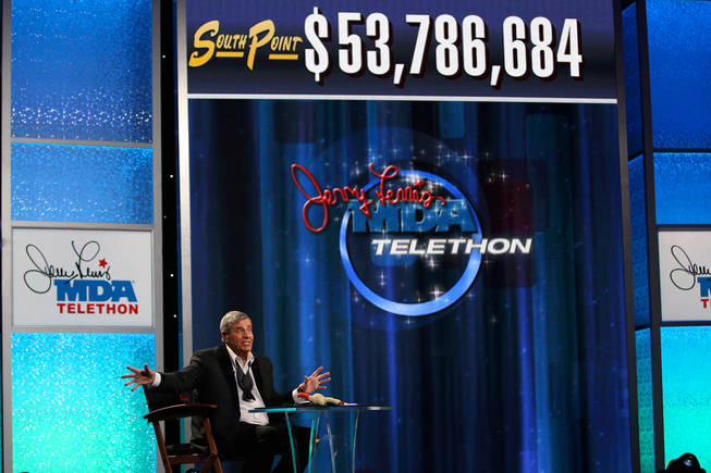 Jerry Lewis reacts with shock when the tally raises above $53 million Monday afternoon during the final hour of the 45th Annual Jerry Lewis MDA Labor Day Telethon at the South Point.