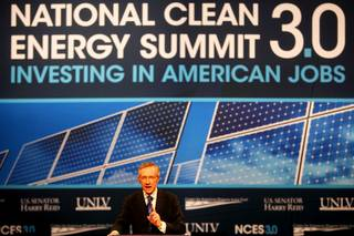 Sen. Harry Reid delivers the opening speech during the third annual National Clean Energy Summit Tuesday at the Cox Pavilion on the UNLV campus.